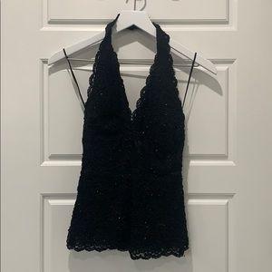Sparkly beaded black halter top